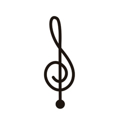 Silhouette monochrome with sign music treble clef vector