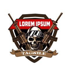 Skull army logo cartoon vector