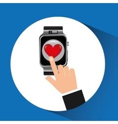 smart watch heart health technology vector image