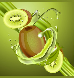 Splash kiwi juice in motion vector