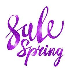 Spring Sale purple pink violet inscription paint vector