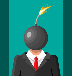 Stressed out businessman with head bomb vector