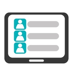 Tablet with contact list on screen icon vector
