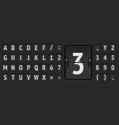 Terminal flip board font for flight destination vector