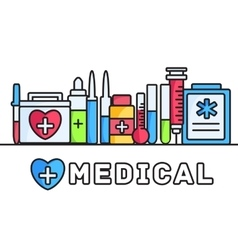 thin lines style medical equipment set icons vector image