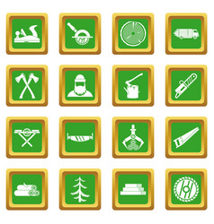 Timber industry icons set green vector
