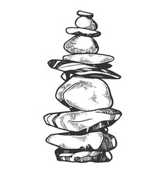 tower of balancing stones engraving vector image