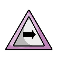 Triangle warning notices with turn right sign vector