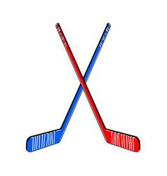 two crossed hockey sticks vector image