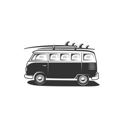 van with surfboard isolated on white background vector image