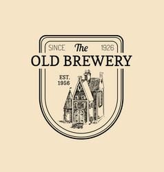 Vintage old brewery logo kraft beer label vector