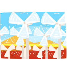 wind turbines power station ecological energy vector image
