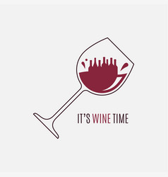 wine glass logo wine time concept on white vector image