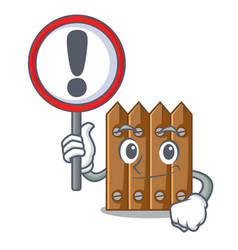with sign brown wooden fence isolated on character vector image