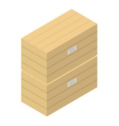 wood box stack icon isometric style vector image