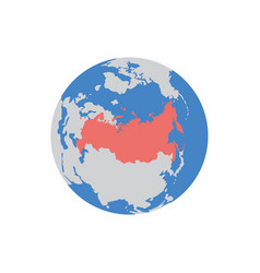 world globe sign with territory russia flat vector image