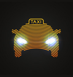 yellow taxi silhouette by concentric circles with vector image
