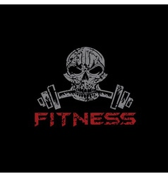 grunge skull holding a barbell in the teeth vector image vector image