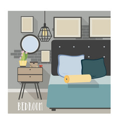 modern bedroom interior in loft style vector image vector image