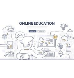 Online education doodle concept vector