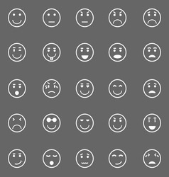 Circle face icons on gray background vector image vector image