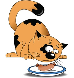 Cartoon cat eating sausage vector image
