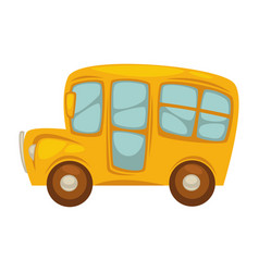Cartoon yellow bus with big windows islated vector