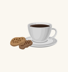 cup of fresh coffee and two delicious cookies with vector image