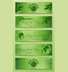 green banner set for earth day vector image vector image