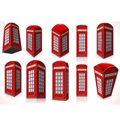 Set of English Red Telephone Cabin vector image vector image