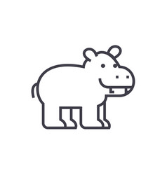 cute hippo line icon sign on vector image