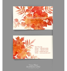 template business card with autumn leaves vector image