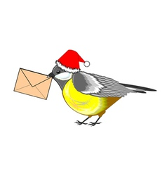 A Christmas titmouse with a letter in its beak vector image