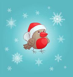 a cute cartoon bullfinch new year s and vector image