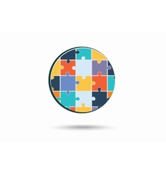 Abstract circle made of puzzle pieces vector