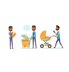 african-american father taking care of child vector image