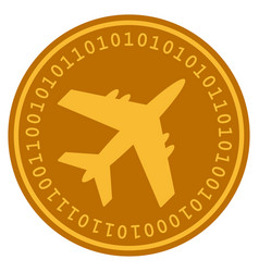 Aircraft digital coin vector