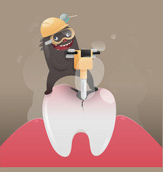 Bad monster is digging and damaging tooth vector