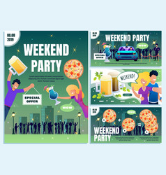 Bar weekend party offer flat ad banners set vector