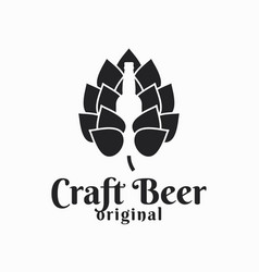 Beer hop and bottle craft logo on white vector