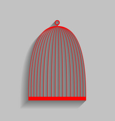 Bird cage sign red icon with soft shadow vector