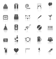 birthday icons with reflect on white background vector image