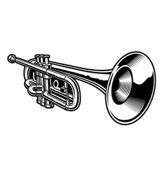 black and white trumpet vector image