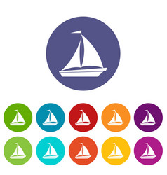 Boat with sails set icons vector