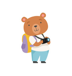 Cheerful tourist bear taking pictures with camera vector