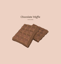 chocolate waffles hand draw sketch vector image