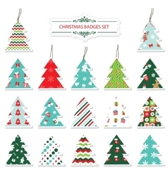 Christmas and new year labels and stickers vector image