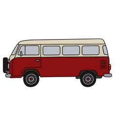Classic red minibus vector