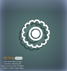cogwheel icon symbol on the blue-green abstract vector image