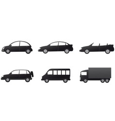 collection of isolated car silhouette vector image